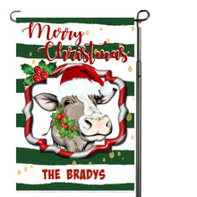 Load image into Gallery viewer, Cow Merry Christmas Garden Flag, Cows, Cow Gift, Personalized Garden Flag, Cow Christmas, Christmas Garden Flag, Custom Garden Flag, Cow