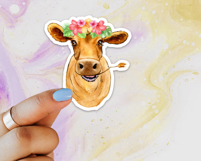 Cow Floral Crown Sticker, Cow Sticker, Cow Sticker for Laptops, Cows, Water Bottles, Gift for Cow Lovers, Brown Cow, Cow, 4-H Cows, Flowers