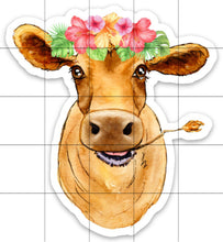 Load image into Gallery viewer, Cow Floral Crown Sticker, Cow Sticker, Cow Sticker for Laptops, Cows, Water Bottles, Gift for Cow Lovers, Brown Cow, Cow, 4-H Cows, Flowers