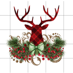 Ready to Press Buffalo Plaid Deer Sublimation Transfer, Christmas Printed Sub, Sublimation Design Transfer