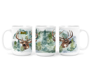 Deer Gifts for Him, Personalized Coffee Mug - Hunter, Hunting, Mug for Man, Custom Name Mug, Coffee Mug for Guys, Dad Gift, Father's Day