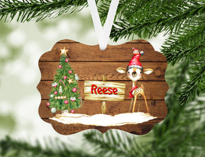 Deer Christmas Tree Personalized Ornament, Name Christmas Ornament, Child Gift, Custom Ornament, Deer Ornament, Kid's Ornament, Deer
