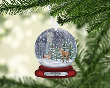Load image into Gallery viewer, Deer Snow Globe Christmas Ornament, Personalized Ornament, Custom Christmas Holiday, Name Ornament, Gift for Dad, Man Gift, Man Christmas