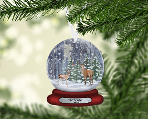 Deer Snow Globe Christmas Ornament, Personalized Ornament, Custom Christmas Holiday, Name Ornament, Gift for Dad, Man Gift, Man Christmas