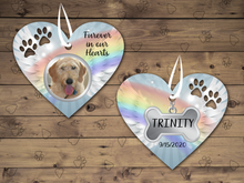 Load image into Gallery viewer, Pet Memorial Photo Heart Ornament, Personalized, In Memory Christmas Ornament, Pet Loss, Pet Loss, Dog Memorial Gift, Cat Memorial, Double Sided