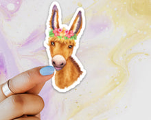 Load image into Gallery viewer, Donkey Floral Crown Sticker, Donkey Sticker, Donkey Sticker for Laptops, Cars, Water Bottles, Gift for Donkey Lovers, Donkey Lover Gift