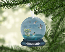 Load image into Gallery viewer, Duck Snow Globe Christmas Ornament, Personalized Ornament, Custom Christmas Holiday, Name Ornament, Gift for Dad, Man Gift, Man Christmas