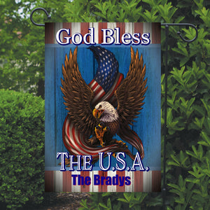 Eagle Patriotic Garden Flag Personalized, God Bless the USA Garden Flag, Red White and Blue Flag, Holiday Yard Flag, American Flag Decor