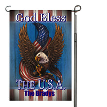 Load image into Gallery viewer, Eagle Patriotic Garden Flag Personalized, God Bless the USA Garden Flag, Red White and Blue Flag, Holiday Yard Flag, American Flag Decor