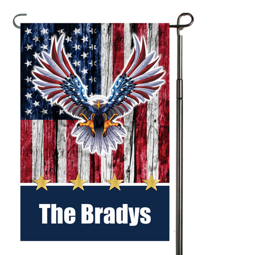 Patriotic Eagle Garden Flag Personalized, USA Garden Flag, Red White and Blue Flag, Veteran Flag, Holiday Yard Flag, American Flag Decoration