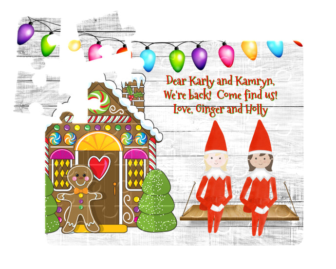 Christmas Elf Puzzle, Gingerbread House with Christmas Lights and Elf, Children's Custom Puzzle, Personalized Puzzle, Elf Return, Kid Gift
