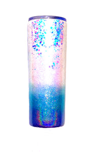 Faith Cross Holographic Glitter Tumbler - White, Purple, Blue - Christian, God, Prayer - Cross Glitter Cup - Faith Cup - Insulated - 20 oz Skinny