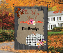 Load image into Gallery viewer, Fall Buffalo Plaid Garden Flag, Personalized, Autumn Garden Flag, Buffalo Plaid Garden Flag, Fall Decor, Fall Yard Decor, Pumpkin Decoration