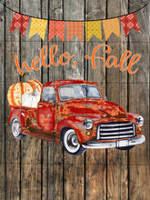 Load image into Gallery viewer, Hello Fall Vintage Red Truck with Pumpkins Fall Garden Flag, Autumn Garden Flag, Fall Decor, Fall Yard Decor, Custom Garden Flag