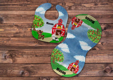 Load image into Gallery viewer, Farm Personalized Bib and Burp Cloth Set - Newborn Baby, Baby Boy Shower Gift, Farmer Baby Gift, Custom Name Bib, New Baby Gift, Farmer Bib