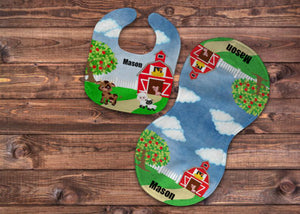 Farm Personalized Bib and Burp Cloth Set - Newborn Baby, Baby Boy Shower Gift, Farmer Baby Gift, Custom Name Bib, New Baby Gift, Farmer Bib