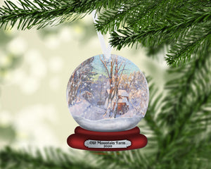 Farmhouse Snow Globe Christmas Ornament, Personalized Ornament, Custom Christmas Holiday, Name Ornament, Gift for Dad, Farm, Farmer