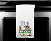 Load image into Gallery viewer, Farm Sweet Farm Oven Mitt Pot Holder Towel Gift Set Personalized, Cow Gift, Cows, Housewarming Gift, Wedding Gift, Custom Kitchen Set