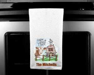 Farm Sweet Farm Oven Mitt Pot Holder Towel Gift Set Personalized, Cow Gift, Cows, Housewarming Gift, Wedding Gift, Custom Kitchen Set
