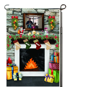 Fireplace with Stockings Personalized Garden Flag, Holiday Garden Flag, Family Garden Flag, Custom Christmas Flag, Yard Flag, Family Gift
