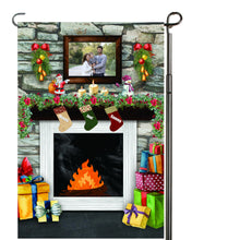 Load image into Gallery viewer, Fireplace with Stockings Personalized Garden Flag, Holiday Garden Flag, Family Garden Flag, Custom Christmas Flag, Yard Flag, Family Gift