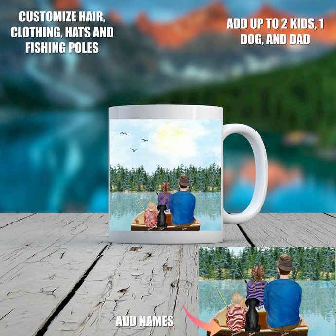 Personalized Dad Fishing with Kids Mug, Custom Dog and Family Mug, Father's Day Mug, Dad Mug, Gift for Fisherman, Dad Gift, Fishing Gift