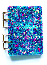 Load image into Gallery viewer, Flamingo Glitter Name Personalized Notebook Cover, Handmade Notebook, Teacher Gift, Journal, Teacher Christmas Gift, Notebook