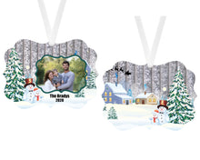 Load image into Gallery viewer, Snowman Christmas Ornament, Photo Ornament, Personalized Family Gift, Custom Ornament, Name Ornament, Christmas Ornament, Holiday Gift