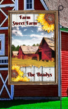 Load image into Gallery viewer, Farm Barn Garden Flag, Personalized with any Text, Garden Flag, Name Garden Flag, Farm Sweet Farm, Farm Yard Flag, Yard Decoration, Ranch