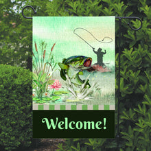 Load image into Gallery viewer, Fishing Garden Flag, Fisherman Garden Flag, You Choose Wording, Name Garden Flag, Fishing Decor, Fishing Flag, Yard Decoration, Fish Decor