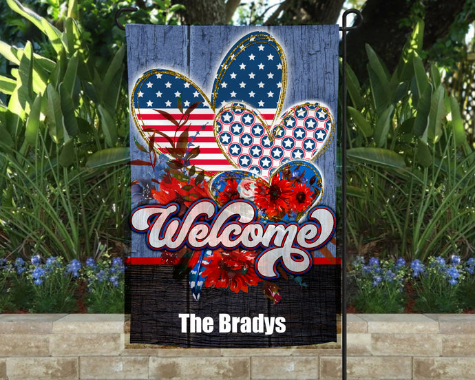 Patriotic Garden Flag Personalized, 4th of July Garden Flag, Red White and Blue Flag, Welcome Yard Flag, Independence Day Decor