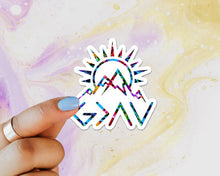 Load image into Gallery viewer, God is Greater Than the Highs and Lows Sticker, Faith, Mountains, Water Bottle, Tumbler, Laptop, Christian Sticker, Inspirational, Believer