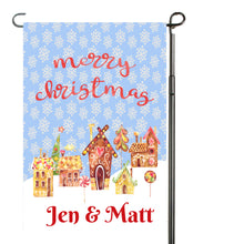 Load image into Gallery viewer, Gingerbread Christmas Village Personalized Garden Flag, Holiday Garden Flag, Christmas Garden Flag, Outdoor Christmas Decoration, Yard Flag