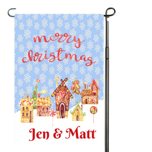 Gingerbread Christmas Village Personalized Garden Flag, Holiday Garden Flag, Christmas Garden Flag, Outdoor Christmas Decoration, Yard Flag