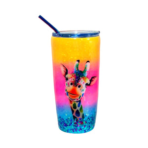 Giraffe Glitter Ombre Tumbler - 20 oz Insulated with Straw and Lid - Yellow, Pink, Blue - Name Optional - Personalized Tumbler, Travel Cup