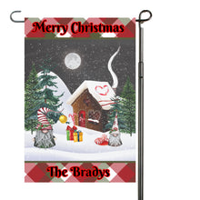 Load image into Gallery viewer, Christmas Gnomes Personalized Garden Flag, Holiday Garden Flag, Outdoor Christmas Decoration, Custom Christmas Flag, Gnome Flag, Holiday