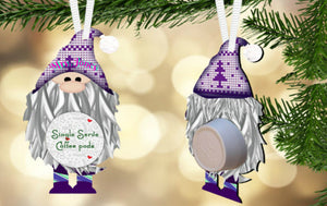 Purple Gnome Coffee/Hot Cocoa Pod Holder Ornament, Personalized, Gnome Gift, Teacher Gift, Gift for Neighbors, Secret Santa, Co-worker Gift
