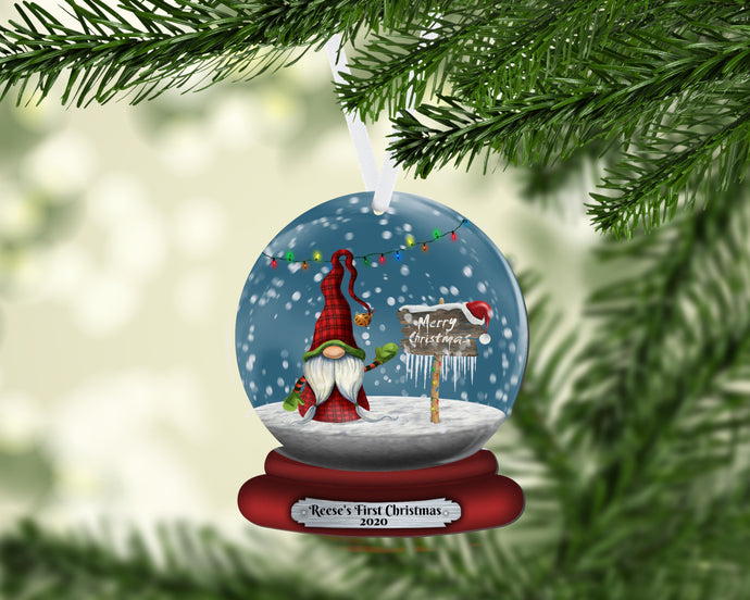 Gnome Snow Globe Christmas Ornament, Personalized, Gnomes, Merry Christmas Name Ornament, Custom Christmas, Gift for Mom, Family Gift