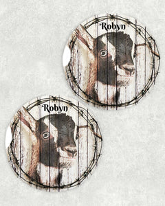 Goat Ceramic Car Coasters, Personalized Set of 2, Dairy Goat Car Coaster, Sandstone Car Coaster, Nigerian Dwarf Goats, Goat Gifts, 4-H, Farm