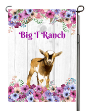 Load image into Gallery viewer, Goat Floral Garden Flag, Personalized, Garden Flag, Name Garden Flag, Goat Decor, Goat Flag, Nigerian Dwarf Goat, Yard Decoration, Ranch