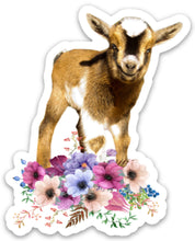 Load image into Gallery viewer, Goat Flowers Sticker, Goat Lover, Goat Gift, Laptop Sticker, Water Bottle, Goats, Goat Kid Sticker, Tumbler Sticker, Dairy Goat, 4-H
