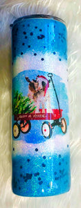 Christmas Goats in Wagon Holographic Glitter Tumbler Cup Double Wall Stainless Steel
