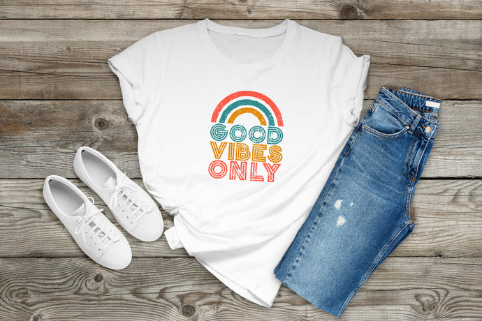 Good Vibes Only Ready to Press Sublimation Transfer, Ready to Use, Adult/Child Shirt Sizes, Sub Image Ready to Press, DIY Sublimation