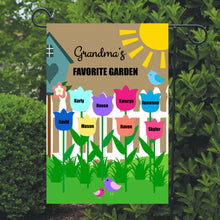 Load image into Gallery viewer, Grandma's Garden Flag, Grandma, Grandparent, Personalized Garden Flag, Custom Garden Flag, Yard Decor, Outdoor Decor, Home Decor, Porch Flag