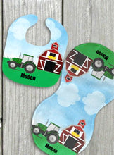 Load image into Gallery viewer, Farm Tractor Personalized Bib and Burp Cloth Set - Newborn Baby, Baby Boy Shower Gift, Farmer Baby Gift, Custom Name Bib, New Baby Gift, Farmer Bib