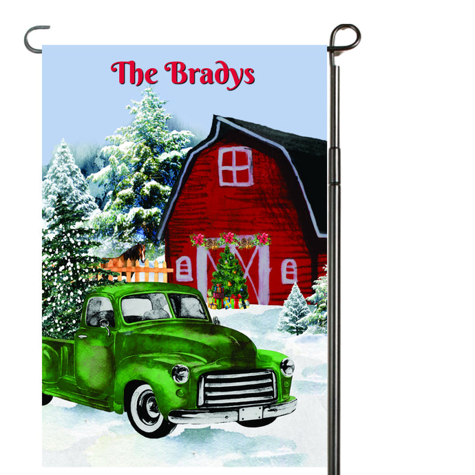 Vintage Christmas Truck Personalized Garden Flag, Holiday Garden Flag, Outdoor Christmas Decoration, Custom Christmas Flag, Barn Flag