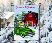 Load image into Gallery viewer, Vintage Christmas Truck Personalized Garden Flag, Holiday Garden Flag, Outdoor Christmas Decoration, Custom Christmas Flag, Barn Flag
