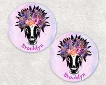 Load image into Gallery viewer, Cow Gypsy Personalized Car Coasters, Cow Coaster, Cow, Cows, Boho Gift, Name Coasters, Personalized Coaster, Sandstone Coasters, Set of 2