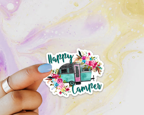 Happy Camper Sticker, Laptop Sticker, Water Bottle Sticker, Retro Camper, Camping, Tumbler Sticker, RV, Travel Sticker, Floral Camper