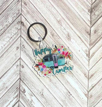 Load image into Gallery viewer, Happy Camper Keychain, Camping, RV, Key Ring, 2.5 inches, Camper Key Ring, Camper, Retro Camper, Camper Gift, Floral Camper, Gift for Mom